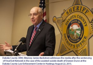 Dakota County (MN) Attorney James Backstrom addresses the media after the sentencing of Final Exit Network in the case of the assisted suicide death of Doreen Dunn at the Dakota County Law Enforcement Center in Hastings August 22, 2015.